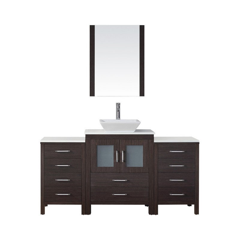 VIRTU USA KS-70064-S-001 DIOR 64 INCH SINGLE BATH VANITY WITH WHITE ENGINEERED STONE TOP AND SQUARE SINK WITH BRUSHED NICKEL FAUCET AND MIRROR