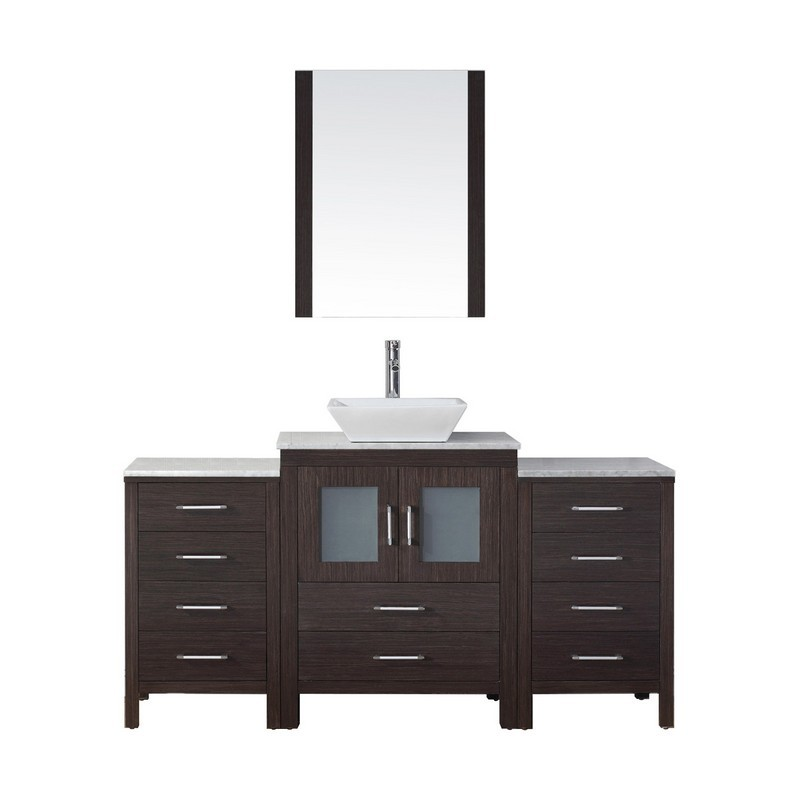 VIRTU USA KS-70064-WM-001 DIOR 64 INCH SINGLE BATH VANITY WITH MARBLE TOP AND SQUARE SINK WITH BRUSHED NICKEL FAUCET AND MIRROR