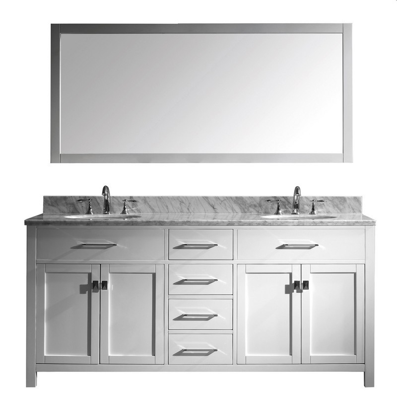 VIRTU USA MD-2072-WMRO-WH-00 CAROLINE 72 INCH DOUBLE BATH VANITY IN WHITE WITH MARBLE TOP AND ROUND SINK WITH FAUCET AND MIRROR