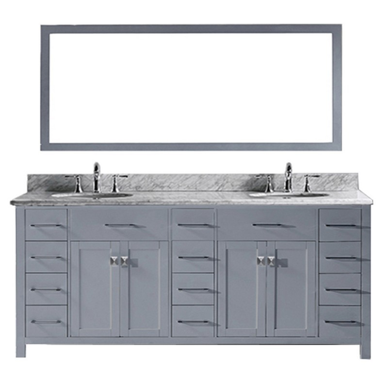 Virtu Usa Md 2178 Wmro Wh Caroline Parkway 78 Inch Double Bath Vanity With Marble Top And Round Sink With Mirror