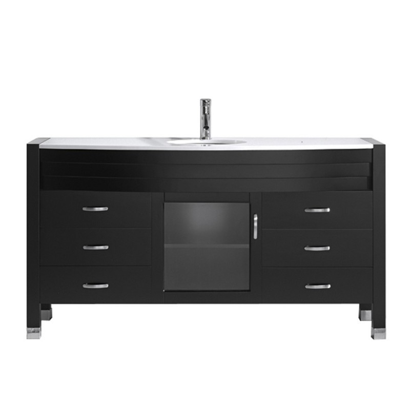 VIRTU USA MS-5061-S-ES-NM AVA 61 INCH SINGLE BATH VANITY IN ESPRESSO WITH WHITE ENGINEERED STONE TOP AND ROUND SINK WITH POLISHED CHROME FAUCET