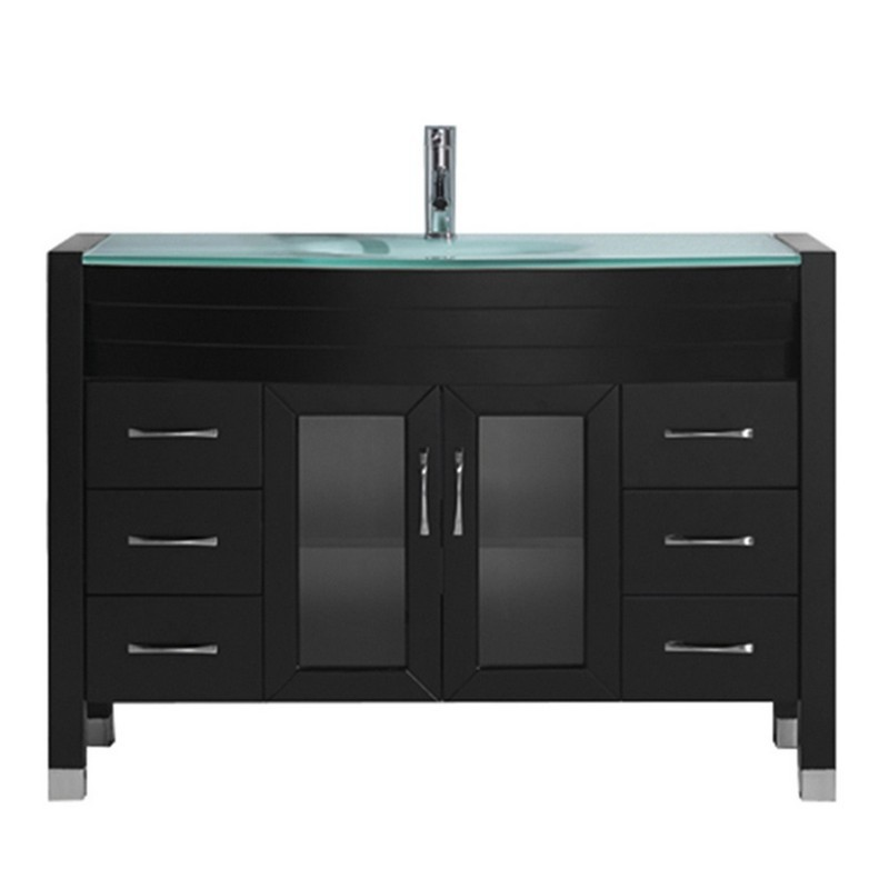 VIRTU USA MS-509-G-NM AVA 48 INCH SINGLE BATH VANITY WITH AQUA TEMPERED GLASS TOP AND ROUND SINK WITH POLISHED CHROME FAUCET