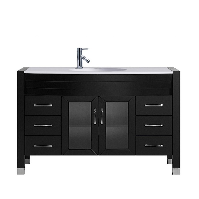 VIRTU USA MS-509-S-NM AVA 48 INCH SINGLE BATH VANITY WITH WHITE ENGINEERED STONE TOP AND ROUND SINK WITH POLISHED CHROME FAUCET