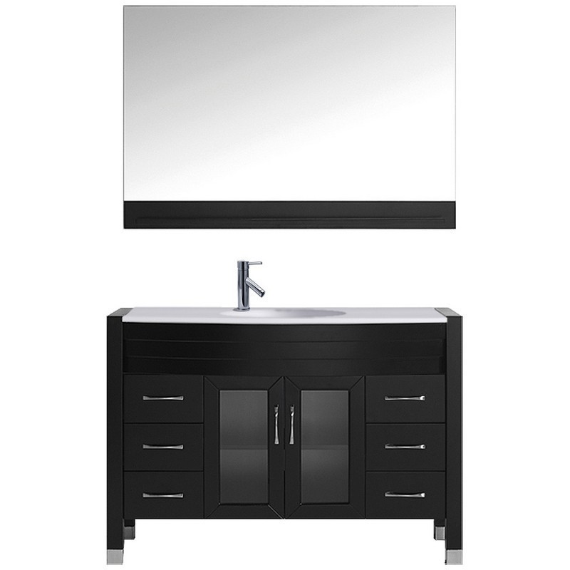 VIRTU USA MS-509-S AVA 48 INCH SINGLE BATH VANITY WITH WHITE ENGINEERED STONE TOP AND ROUND SINK WITH POLISHED CHROME FAUCET AND MIRROR