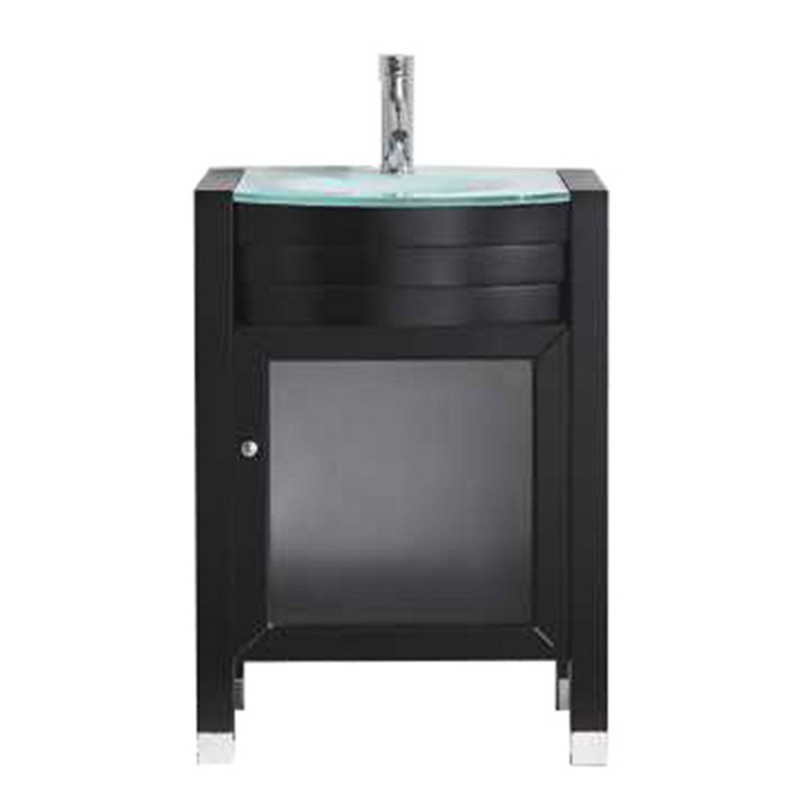 VIRTU USA MS-545-G-NM AVA 24 INCH SINGLE BATH VANITY WITH AQUA TEMPERED GLASS TOP AND ROUND SINK WITH POLISHED CHROME FAUCET