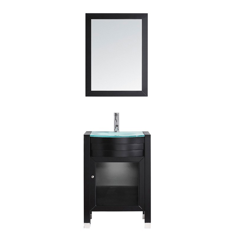 VIRTU USA MS-545-G AVA 24 INCH SINGLE BATH VANITY WITH AQUA TEMPERED GLASS TOP AND ROUND SINK WITH POLISHED CHROME FAUCET AND MIRROR
