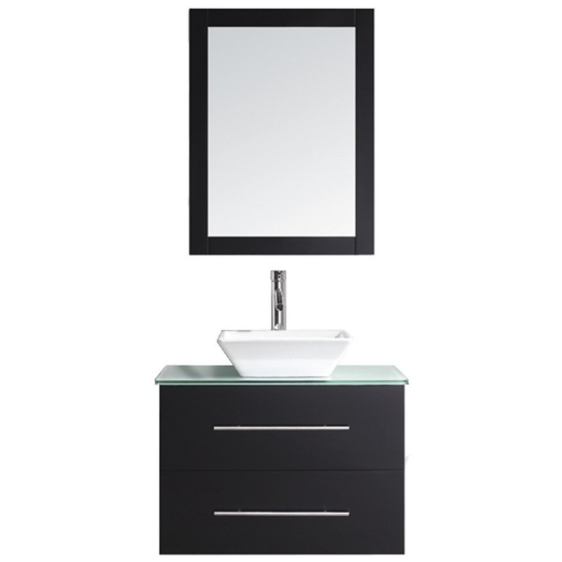 VIRTU USA MS-560-G MARSALA 29 INCH SINGLE BATH VANITY WITH AQUA TEMPERED GLASS TOP AND SQUARE SINK WITH POLISHED CHROME FAUCET AND MIRROR