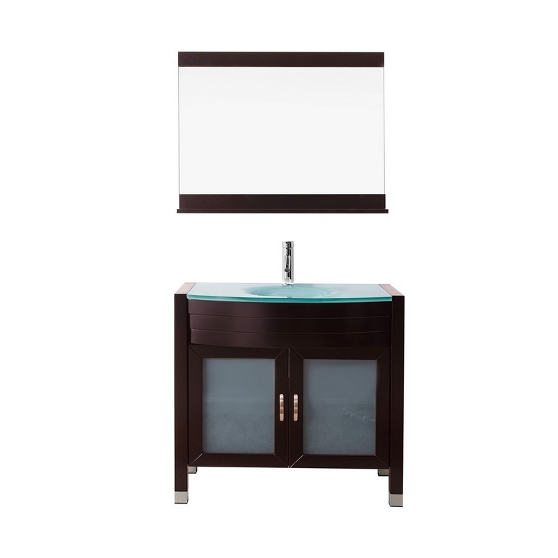 VIRTU USA UM-3071-G AVA 36 INCH SINGLE BATH VANITY WITH AQUA TEMPERED GLASS TOP AND ROUND SINK WITH POLISHED CHROME FAUCET AND MIRROR
