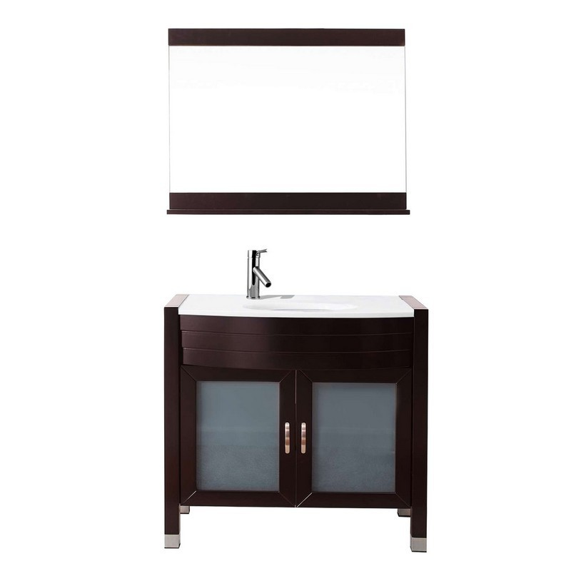 VIRTU USA UM-3071-S AVA 36 INCH SINGLE BATH VANITY WITH WHITE ENGINEERED STONE TOP AND ROUND SINK WITH POLISHED CHROME FAUCET AND MIRROR