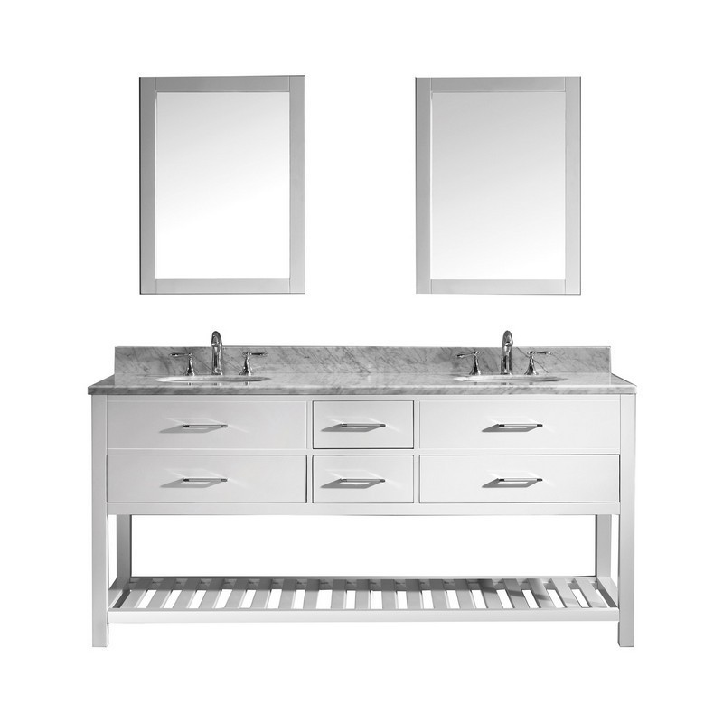 VIRTU USA MD-2272-WMRO-WH-00 CAROLINE ESTATE 72 INCH DOUBLE BATH VANITY IN WHITE WITH MARBLE TOP AND ROUND SINK WITH FAUCET AND MIRRORS