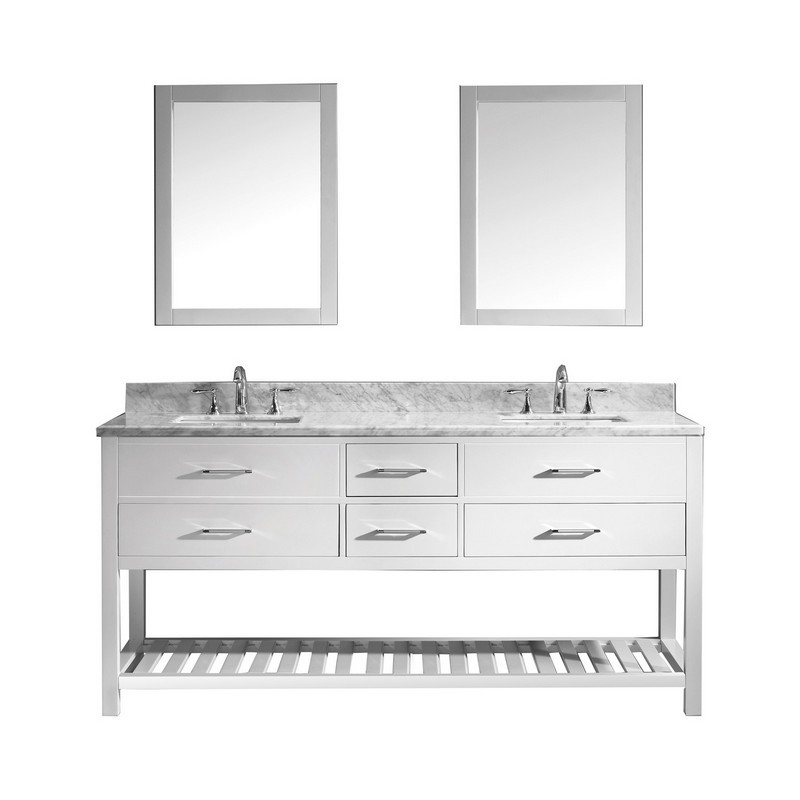 VIRTU USA MD-2272-WMSQ-WH-00 CAROLINE ESTATE 72 INCH DOUBLE BATH VANITY IN WHITE WITH MARBLE TOP AND SQUARE SINK WITH FAUCET AND MIRRORS