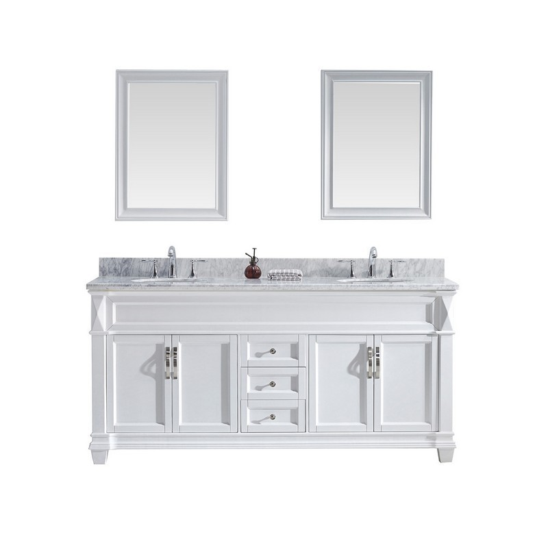 VIRTU USA MD-2672-WMRO-WH-00 VICTORIA 72 INCH DOUBLE BATH VANITY IN WHITE WITH MARBLE TOP AND ROUND SINK WITH FAUCET AND MIRRORS