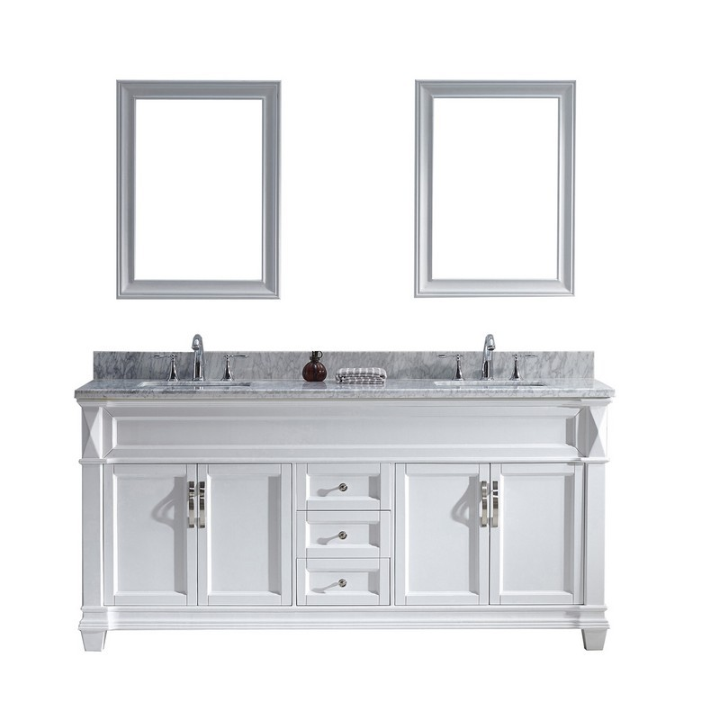VIRTU USA MD-2672-WMSQ-WH-00 VICTORIA 72 INCH DOUBLE BATH VANITY IN WHITE WITH MARBLE TOP AND SQUARE SINK WITH FAUCET AND MIRRORS