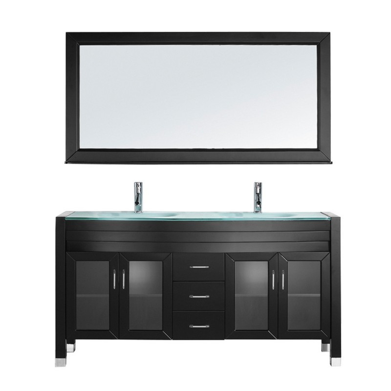 VIRTU USA MD-499-G-001 AVA 63 INCH DOUBLE BATH VANITY WITH AQUA TEMPERED GLASS TOP AND ROUND SINK WITH BRUSHED NICKEL FAUCET AND MIRROR