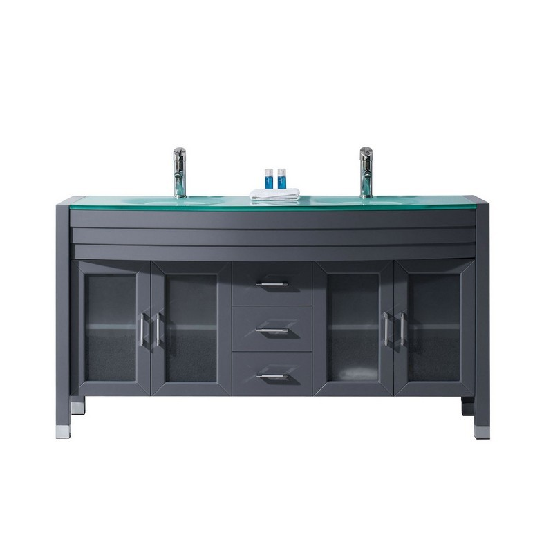 VIRTU USA MD-499-G-GR-001-NM AVA 63 INCH DOUBLE BATH VANITY IN GREY WITH AQUA TEMPERED GLASS TOP AND ROUND SINK WITH BRUSHED NICKEL FAUCET