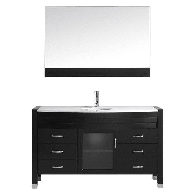 VIRTU USA MS-5055-S-001 AVA 55 INCH SINGLE BATH VANITY WITH WHITE ENGINEERED STONE TOP AND ROUND SINK WITH BRUSHED NICKEL FAUCET AND MIRROR