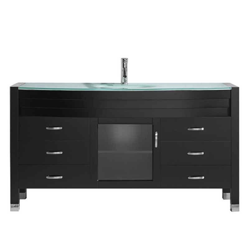 VIRTU USA MS-5061-G-ES-001-NM AVA 61 INCH SINGLE BATH VANITY IN ESPRESSO WITH AQUA TEMPERED GLASS TOP AND ROUND SINK WITH BRUSHED NICKEL FAUCET