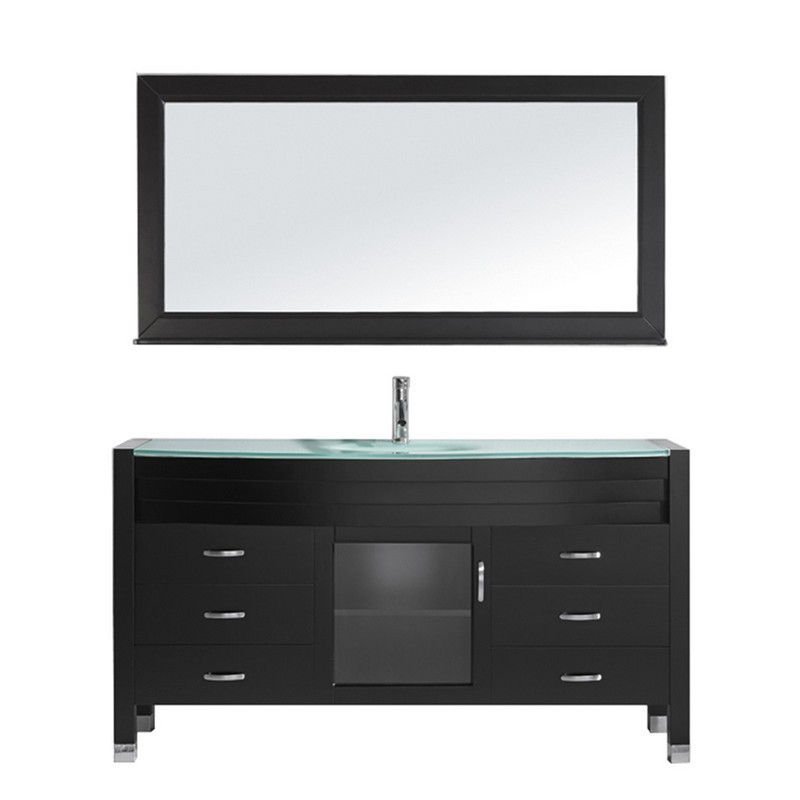 VIRTU USA MS-5061-G-001 AVA 61 INCH SINGLE BATH VANITY WITH AQUA TEMPERED GLASS TOP AND ROUND SINK WITH BRUSHED NICKEL FAUCET AND MIRROR