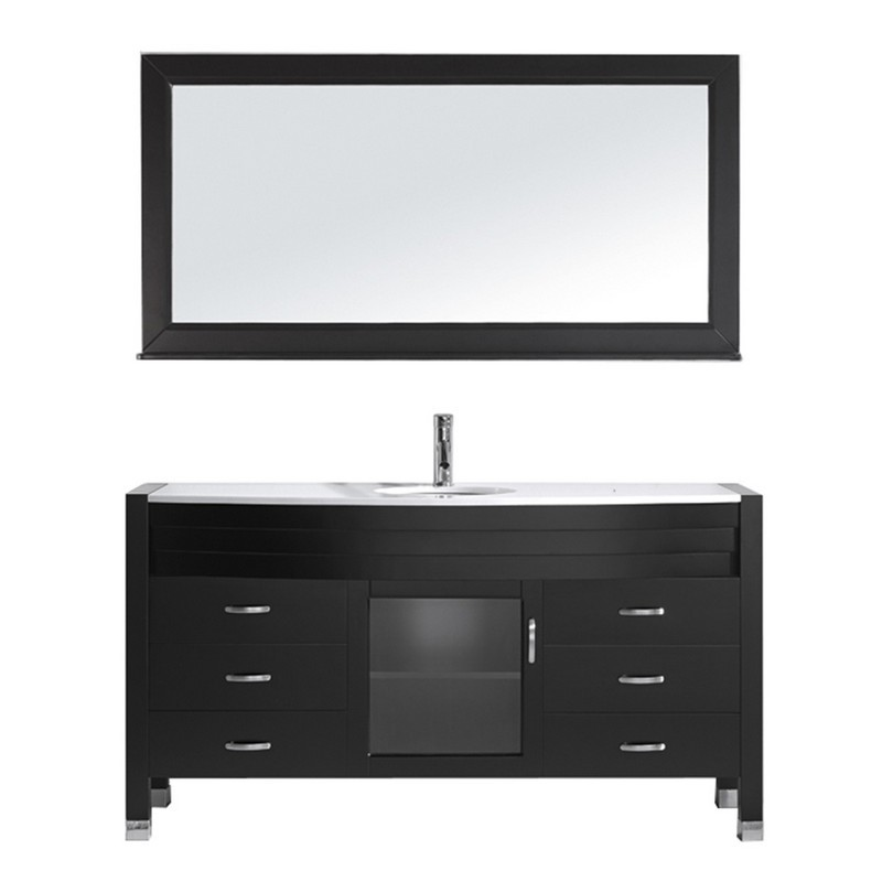 VIRTU USA MS-5061-S-001 AVA 61 INCH SINGLE BATH VANITY WITH WHITE ENGINEERED STONE TOP AND ROUND SINK WITH BRUSHED NICKEL FAUCET AND MIRROR