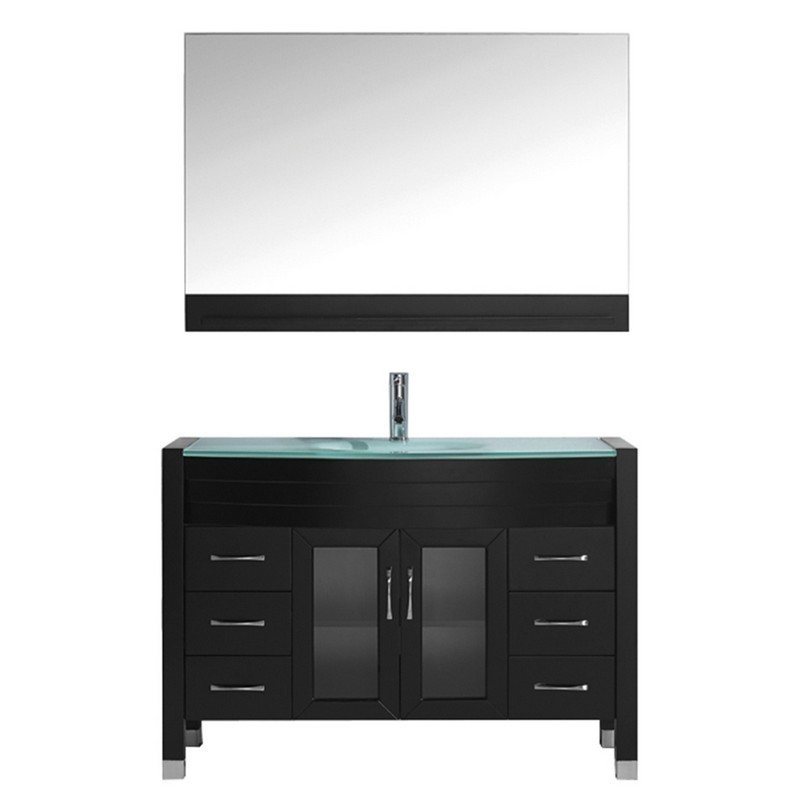 VIRTU USA MS-509-G-001 AVA 48 INCH SINGLE BATH VANITY WITH AQUA TEMPERED GLASS TOP AND ROUND SINK WITH BRUSHED NICKEL FAUCET AND MIRROR