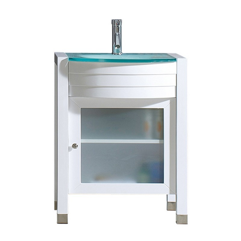 VIRTU USA MS-545-G-WH-001-NM AVA 24 INCH SINGLE BATH VANITY IN WHITE WITH AQUA TEMPERED GLASS TOP AND ROUND SINK WITH BRUSHED NICKEL FAUCET