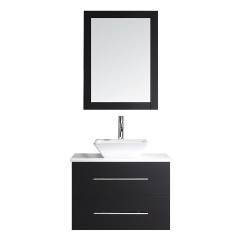 VIRTU USA MS-560-S-001 MARSALA 29 INCH SINGLE BATH VANITY WITH WHITE ENGINEERED STONE TOP AND SQUARE SINK WITH BRUSHED NICKEL FAUCET AND MIRROR