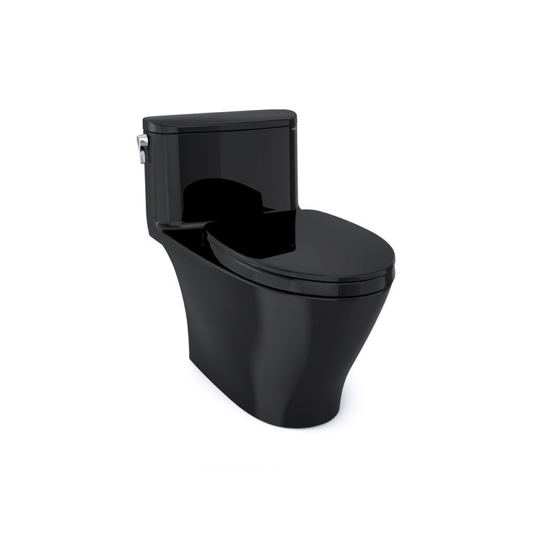 TOTO MS642124CEF#51 NEXUS ONE-PIECE ELONGATED 1.28 GPF UNIVERSAL HEIGHT TOILET WITH SS124 SOFT CLOSE SEAT, WASHLET + READY IN EBONY