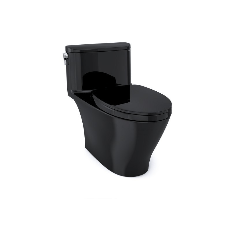 TOTO MS642124CUF#51 NEXUS 1G ONE-PIECE ELONGATED 1.0 GPF UNIVERSAL HEIGHT TOILET WITH SS124 SOFT CLOSE SEAT, WASHLET + READY IN EBONY