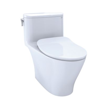 TOTO MS642234CEFG#01 NEXUS ONE-PIECE ELONGATED 1.28 GPF UNIVERSAL HEIGHT TOILET WITH CEFIONTECT AND SS234 SOFT CLOSE SEAT, WASHLET + READY IN COTTON WHITE