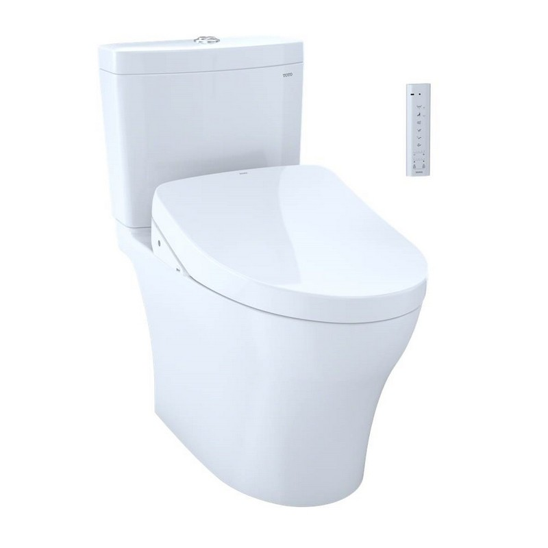 TOTO MW4463056CEMGA#01 WASHLET + AQUIA IV TWO-PIECE ELONGATED DUAL FLUSH 1.28 AND 0.8 GPF TOILET AND WITH AUTO FLUSH S550E BIDET SEAT IN COTTON WHITE