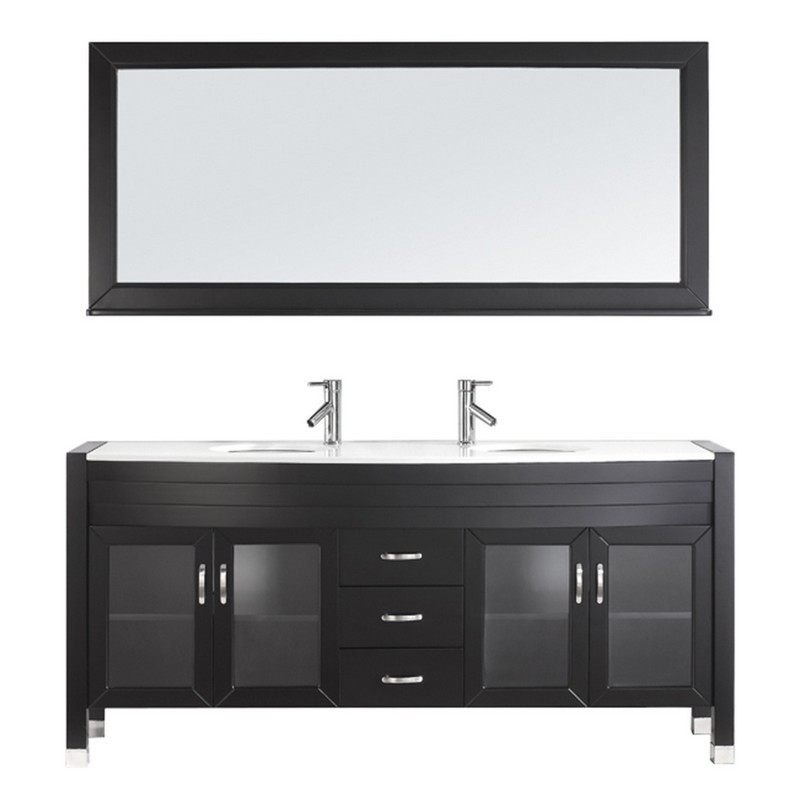 VIRTU USA UM-3073-S-001 AVA 71 INCH DOUBLE BATH VANITY WITH WHITE ENGINEERED STONE TOP AND ROUND SINK WITH BRUSHED NICKEL FAUCET AND MIRROR