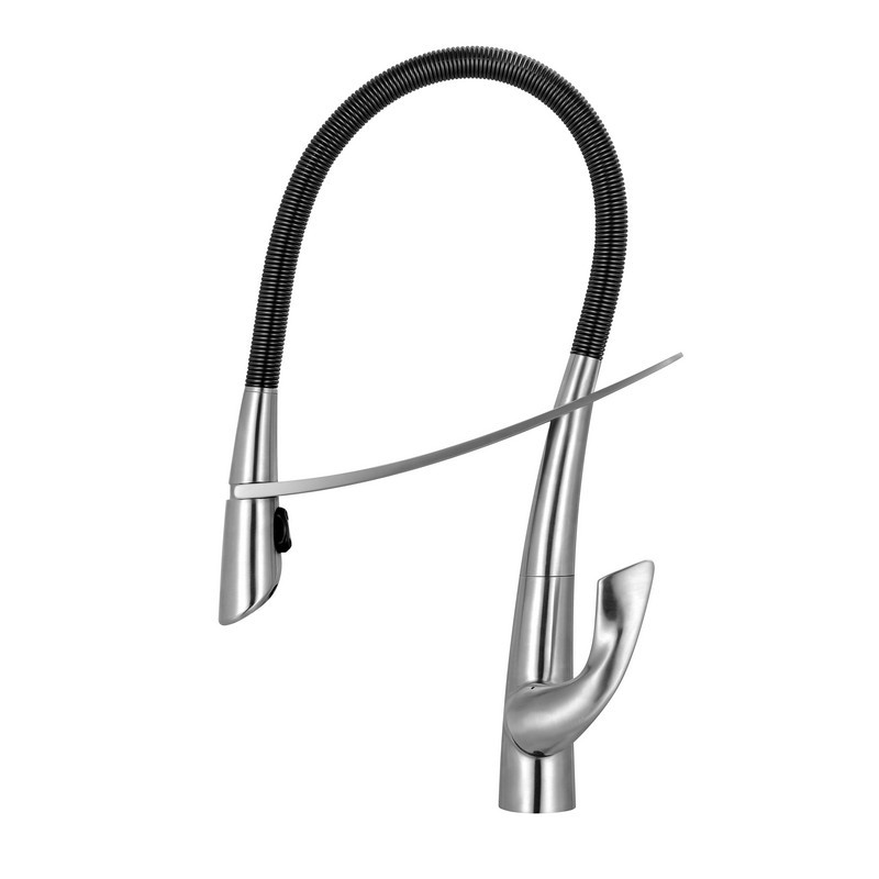WHITEHAUS WHS1455-SK-BSS SWANHAUS SOLID STAINLESS STEEL, SINGLE HOLE LEVER FAUCET WITH PULL DOWN SPRAY HEAD
