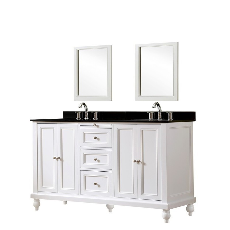Direct Vanity Sinks 5060d9 Wbk 2m Classic 60 Inch White Vanity With Black Granite Vanity Top