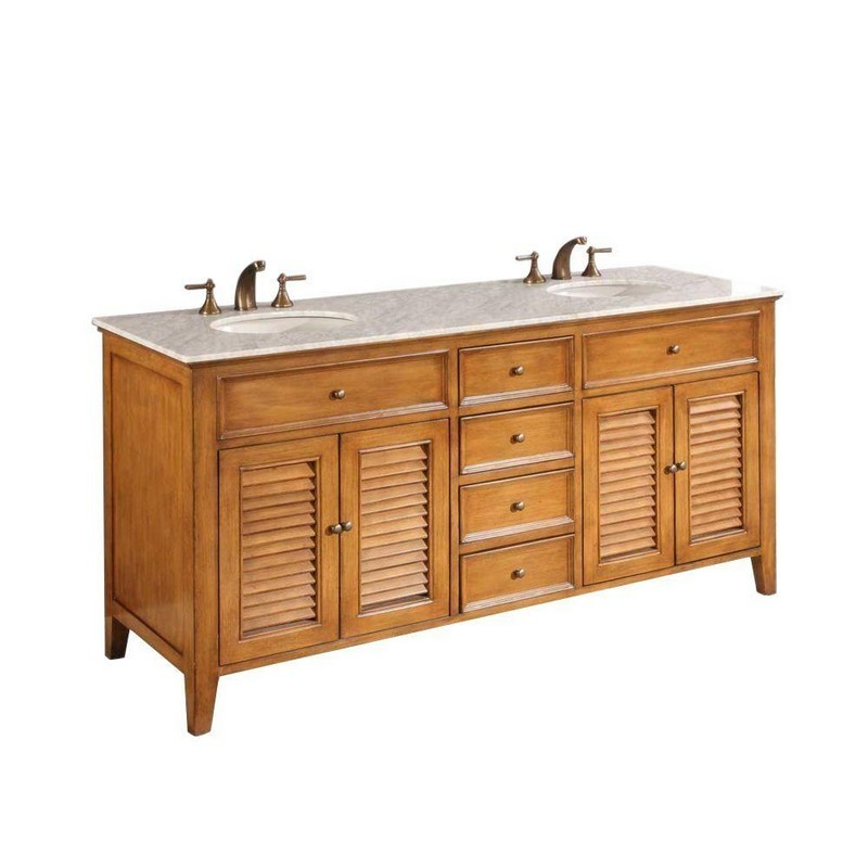 DIRECT VANITY SINKS 6070D12-OWC SHUTTER 70 INCH VANITY IN OAK AND WHITE CARRARA MARBLE TOP