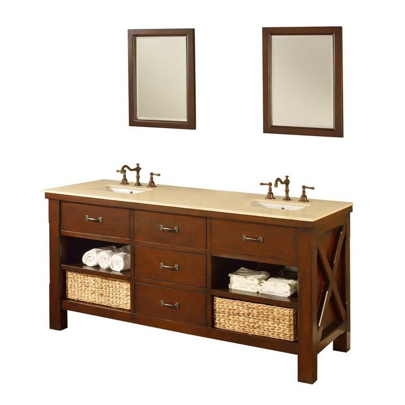 DIRECT VANITY SINKS 70D1-ESB-2M XTRAORDINARY SPA 70 INCH DARK BROWN VANITY WITH BEIGE MARBLE TOP AND MIRRORS