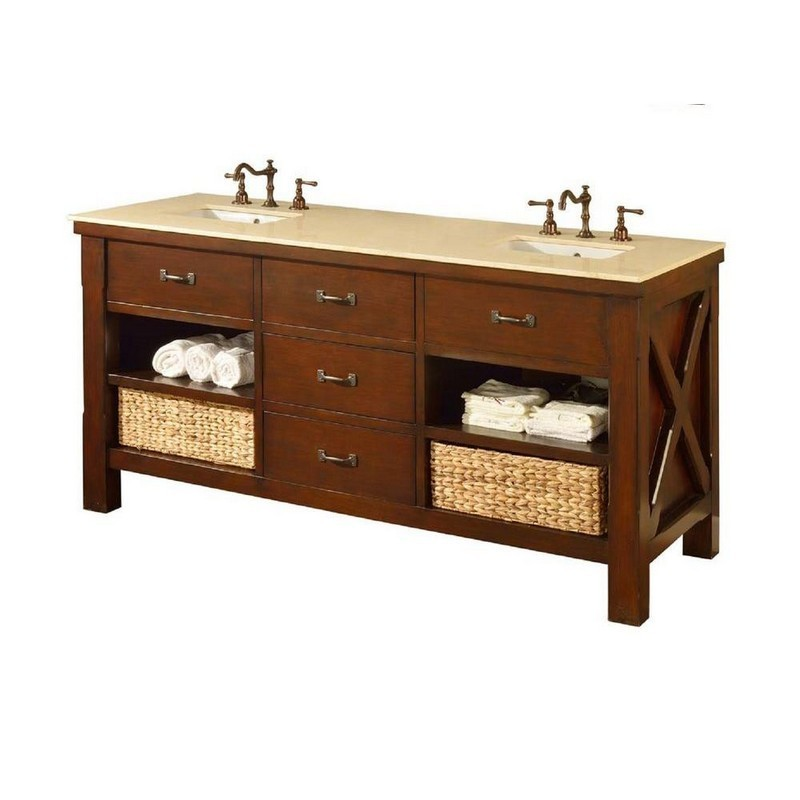 DIRECT VANITY SINKS 70D1-ESB XTRAORDINARY SPA 70 INCH DARK BROWN VANITY WITH BEIGE MARBLE TOP