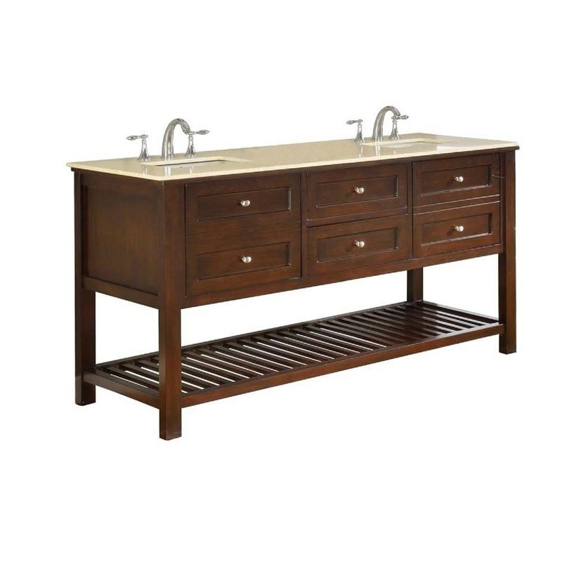 DIRECT VANITY SINKS 70D6-ESB MISSION SPA 70 INCH DARK BROWN VANITY WITH BEIGE MARBLE TOP