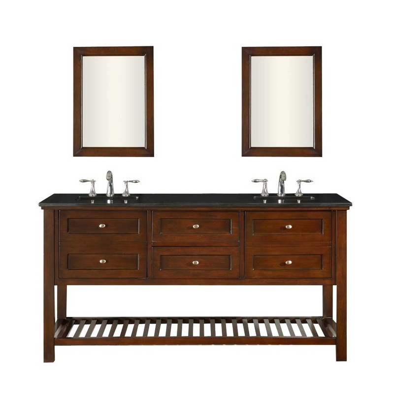 DIRECT VANITY SINKS 70D6-ESBK-2M MISSION SPA 70 INCH DARK BROWN VANITY WITH BLACK GRANITE TOP AND MIRRORS