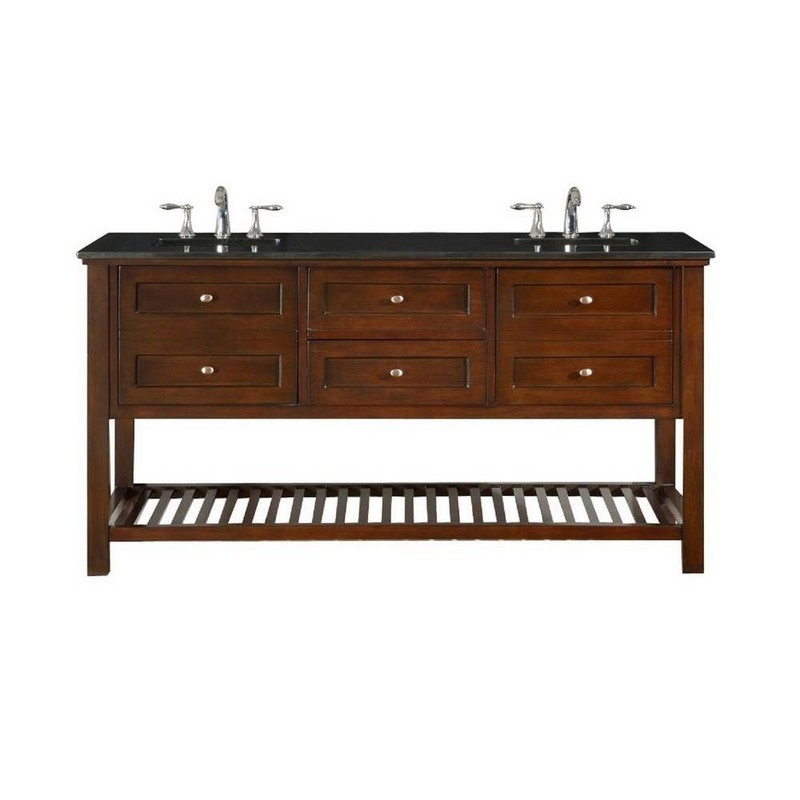 DIRECT VANITY SINKS 70D6-ESBK MISSION SPA 70 INCH DARK BROWN VANITY WITH BLACK GRANITE TOP