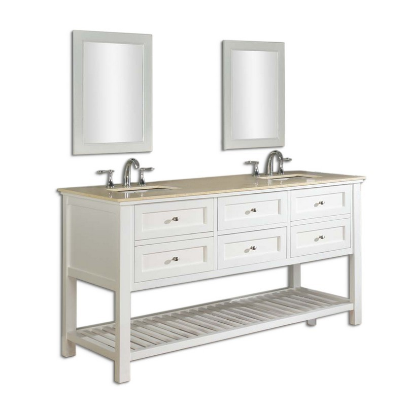 DIRECT VANITY SINKS 70D6-WB-2M MISSION SPA 70 INCH WHITE VANITY WITH BEIGE MARBLE TOP AND MIRRORS