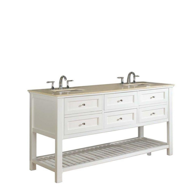 DIRECT VANITY SINKS 70D6-WB MISSION SPA 70 INCH WHITE VANITY WITH BEIGE MARBLE TOP
