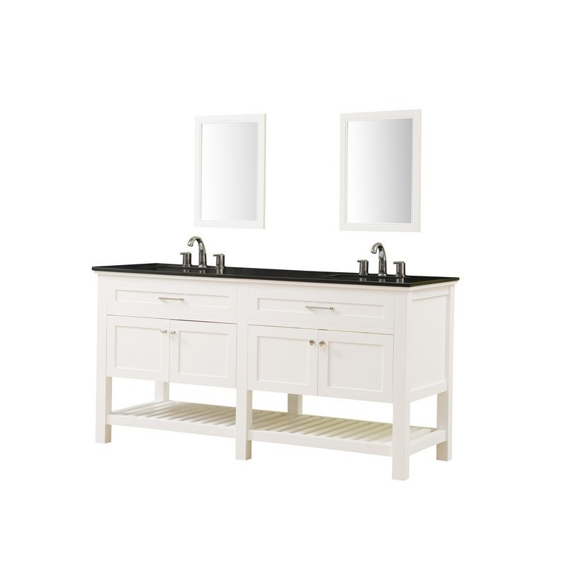 DIRECT VANITY SINKS 70D8-WBK-2M PRESWICK SPA 70 INCH VANITY IN WHITE WITH GRANITE VANITY TOP IN BLACK WITH WHITE BASIN AND MIRRORS