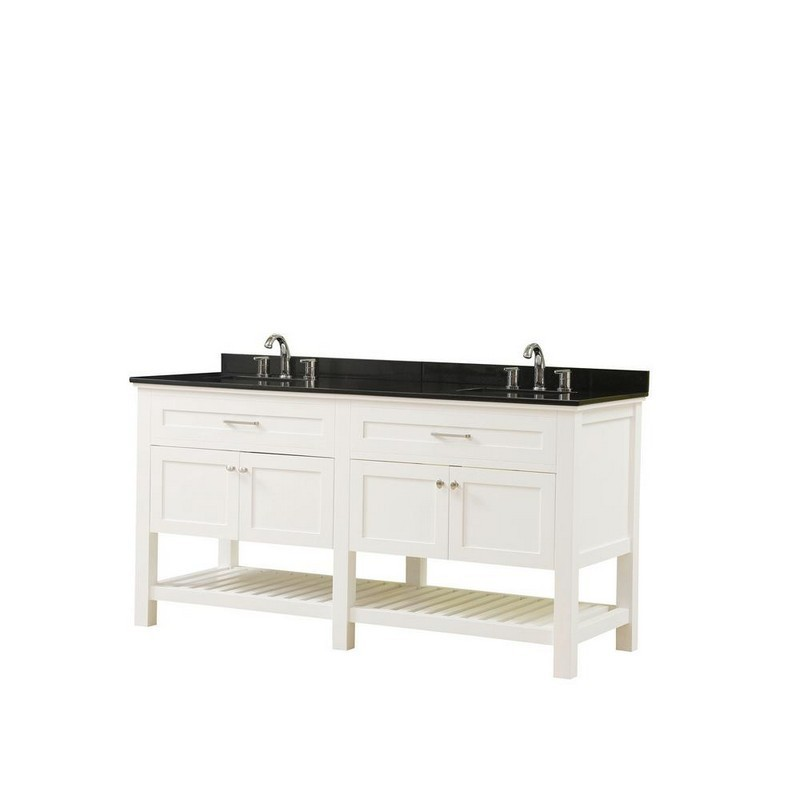 DIRECT VANITY SINKS 70D8-WBK PRESWICK SPA 70 INCH VANITY IN WHITE WITH GRANITE VANITY TOP IN BLACK WITH WHITE BASIN