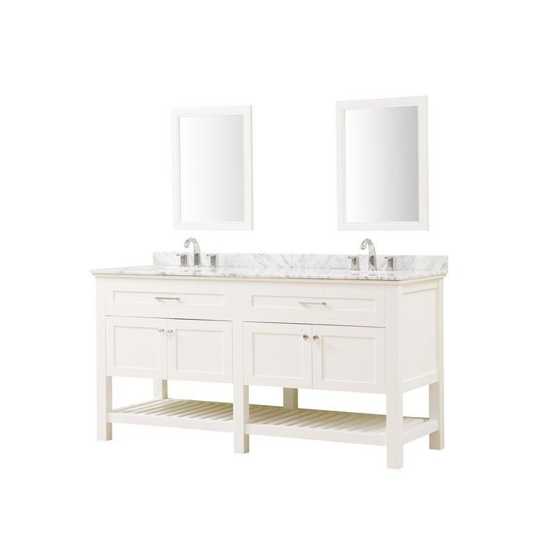 DIRECT VANITY SINKS 70D8-WWC-2M PRESWICK SPA 70 INCH VANITY IN WHITE WITH MARBLE VANITY TOP IN WHITE CARRARA WITH BASIN AND MIRRORS