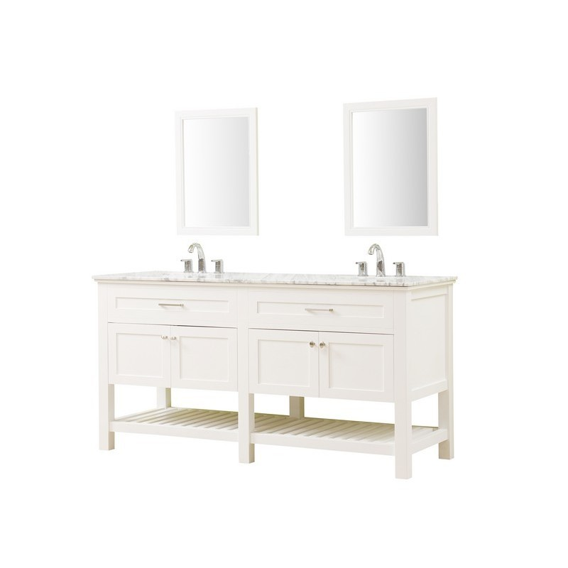 DIRECT VANITY SINKS 70D8-WWC-WM-2M PRESWICK SPA PREMIUM 70 INCH VANITY IN WHITE WITH MARBLE VANITY TOP IN WHITE CARRARA WITH BASIN AND MIRRORS