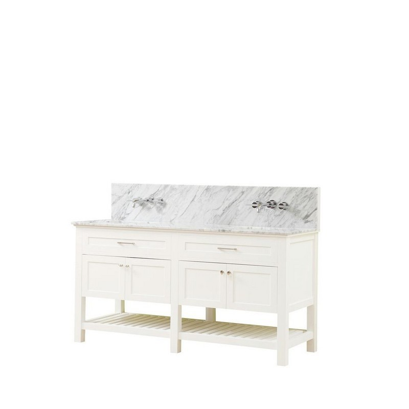 DIRECT VANITY SINKS 70D8-WWC-WM PRESWICK SPA PREMIUM 70 INCH VANITY IN WHITE WITH MARBLE VANITY TOP IN WHITE CARRARA WITH BASIN
