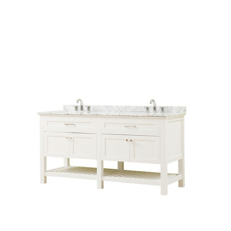 DIRECT VANITY SINKS 70D8-WWC PRESWICK SPA 70 INCH VANITY IN WHITE WITH MARBLE VANITY TOP IN WHITE CARRARA WITH BASIN