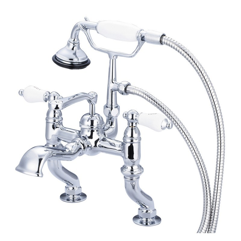 WATER-CREATION F6-0004 -CL VINTAGE CLASSIC ADJUSTABLE CENTER DECK MOUNT TUB FAUCET WITH HANDHELD SHOWER WITH PORCELAIN LEVER HANDLES, HOT AND COLD LABELS INCLUDED