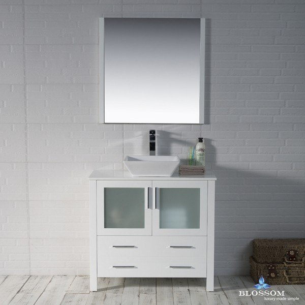 BLOSSOM 001 36 01 1616V SYDNEY 36 INCH VANITY SET WITH VESSEL SINK AND MIRROR IN GLOSSY WHITE