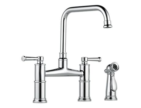 Brizo 62525LF Artesso Two Handle Bridge Kitchen Faucet with Spray